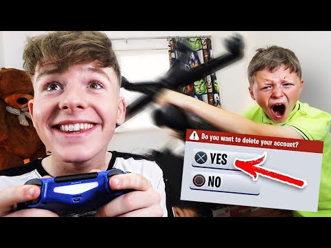 Deleting My Little Brother's FORTNITE Account *PRANK*