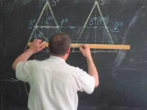 Построение проекции линии, находящейся на поверхности конуса (видео)