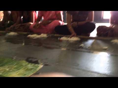 Eating on the floor at Udupi Matha