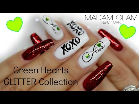 Nail art designs - V-DAY NAILS  40% OFF MADAM GLAM GREEN HEARTS GLITTER COLLECTION