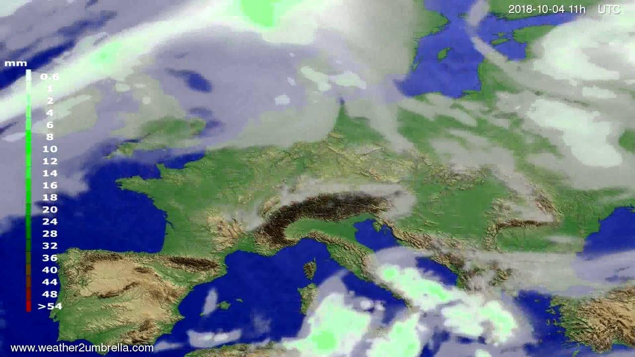 Precipitation forecast Europe 2018-10-01