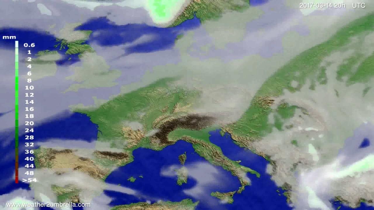 Precipitation forecast Europe 2017-03-12