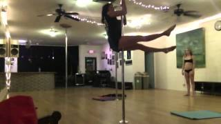 Bicep Grip Fan Kick, Inner Thigh Hold Layout, Narrow Grip Angel Legs Descent (with spin impulse) after Pole Drills Instructor: Brynlyn Loomis, Owner of SW Po...