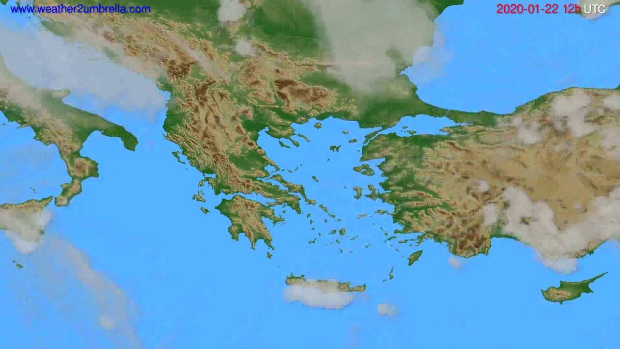 Cloud forecast Greece // modelrun: 12h UTC 2020-01-21