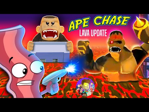 THE FLOOR IS LAVA! Derpy Bacon Plays FGTeeV Ape Chase (New Update!) with DINOSAUR APE?!