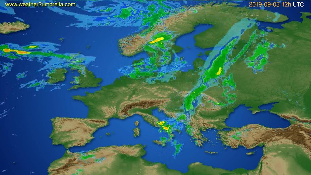 Radar forecast Europe // modelrun: 00h UTC 2019-09-03