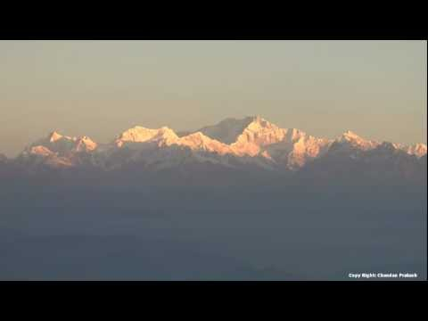 Time lapse shot of sunrise on Kanchenjunga peak