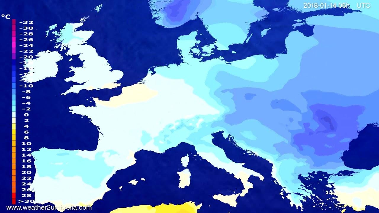Temperature forecast Europe 2018-01-11