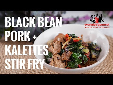 Black Bean Pork and Kalettes Stirfry | Everyday Gourmet S7 E32