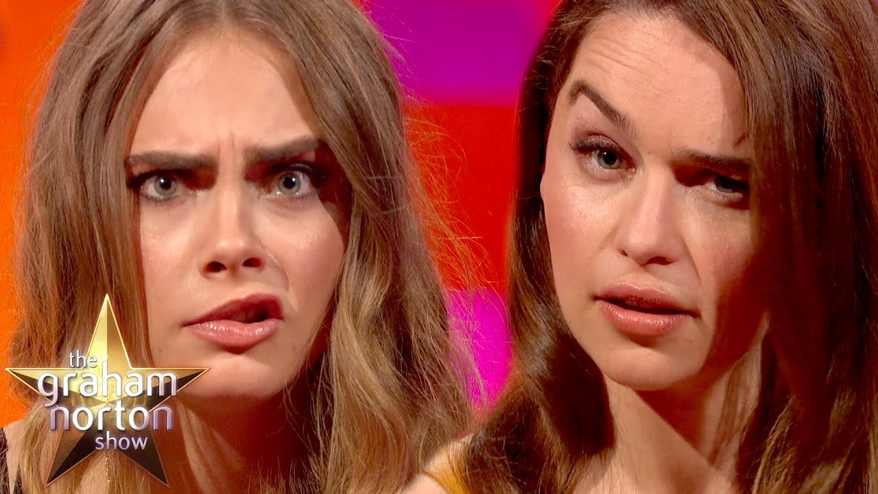 Cara Delevingne and Emilia Clarke Have An Eyebrow-Off – The Graham Norton Show