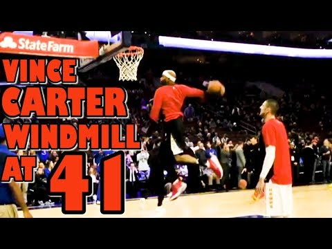 VINCE CARTER WINDMILL AT 41 IN WARM UPS!!! (Daily Dunks)