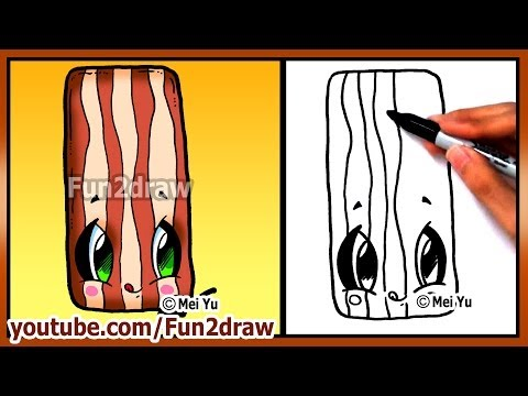 Cute Food Bacon - How to Draw Cartoons + How Would I Cook Bacon