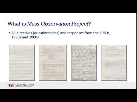 Mass Observation Project: 1981 - 2009 - New for 2020
