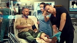 Erica Durance Cleavage In Purple Bra On Saving Hope