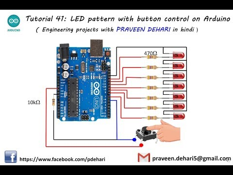 LED pattern with button control on Arduino : Tutorial 41