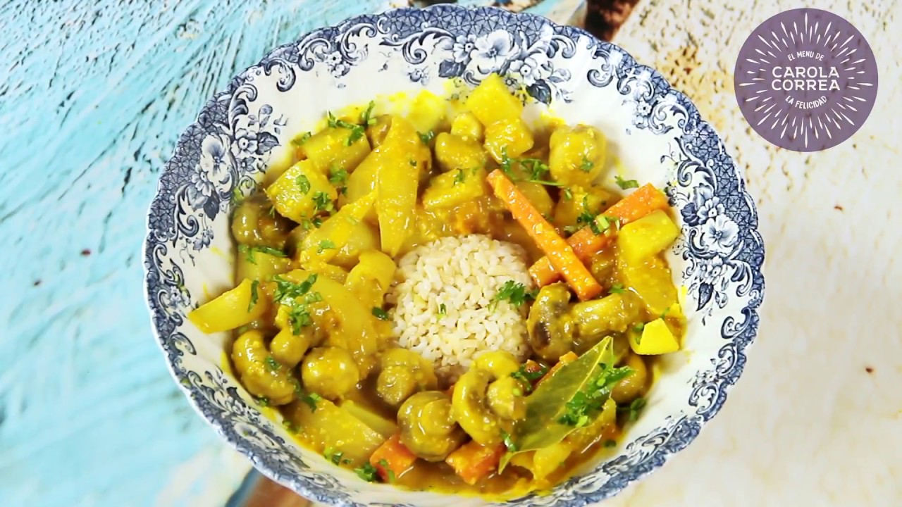 Curry de champiñones y zapallo