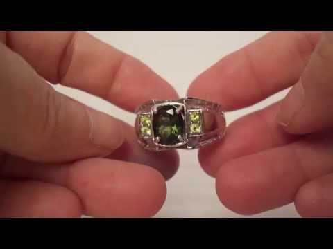 Oval Moldavte & Peridot Men's Sterling Silver Ring - Size 12