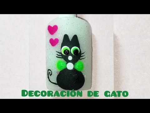 Uñas decoradas - DECORACIÓN DE GATO - CAT NAIL DECORATION