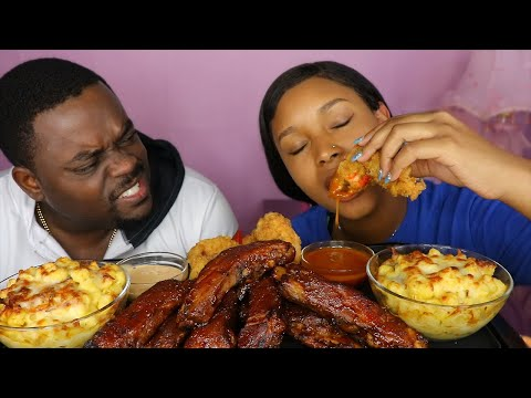 OVEN RIBS + PANKO FRIED SHRIMP + CHEESY GOUDA MAC N CHEESE MUKBANG ft. BEAST MODE | QUEEN BEAST