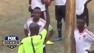 Player punches referee after getting a red card by FOX Soccer