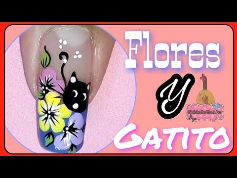 Uñas decoradas - Decoración de uñas gatico/Nail decoration flowers kitten/Decoración de uñas flores y gatito