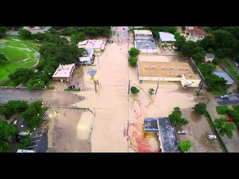 Arial footage of Austin Texas after historic flooding on 5/25/15