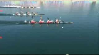 See the German team sprint to victory in the final of the women's K4 500M canoe/kayak at the Beijing 2008 Summer Olympic Games.http://www.olympic.org/canoe-kayak-flatwater-k-4-500m-kayak-four-womenhttp://www.olympic.org/beijing-2008-summer-olympicshttp://www.olympic.org/germany