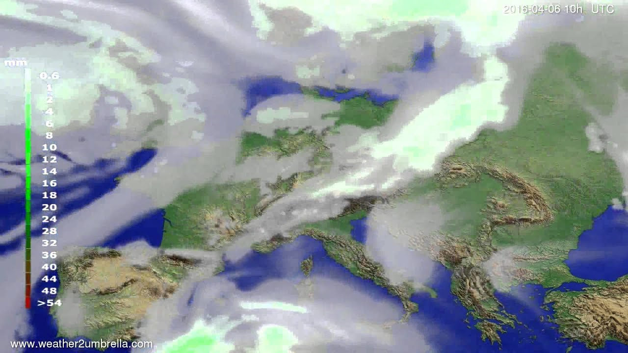 Precipitation forecast Europe 2016-04-04