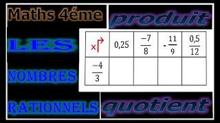Maths 4ème - Les nombres rationnels Produit et Quotient Exercice 8