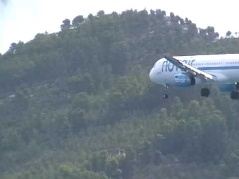 Novair  plane landing at Skiathos island airport Greece