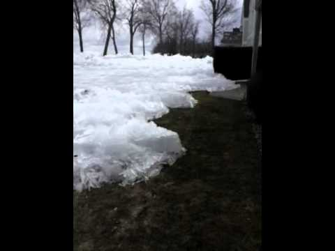 ice - COPYRIGHT 2013 Darla Johnson - NO USE WITHOUT PERMISSION Ice Heaves pushed up from Mille Lacs Lake onto the Resort grounds and damaged homes within 15 minute...