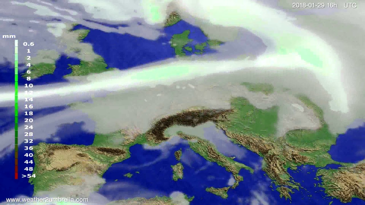 Precipitation forecast Europe 2018-01-26