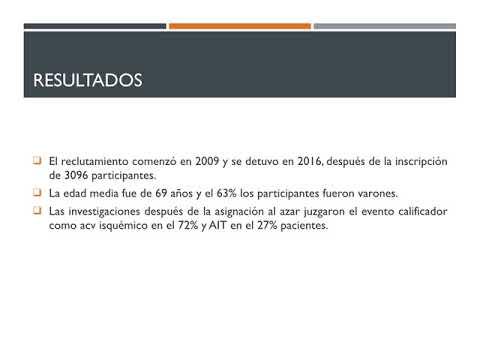 Terapia antiplaquetaria en ACV isquémico agudo. Residencia de Cardiología. Hospital C. Argerich. Buenos Aires