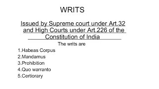 Writs of Indian Constitution explained along with trick to remember them Improved Version of the video...