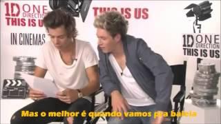 Harry e Niall cantando em português no CQC