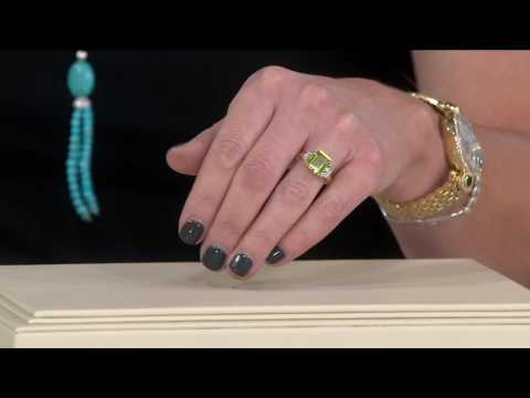 Emerald Cut Peridot and Diamond Accent Ring, 14K Gold on QVC