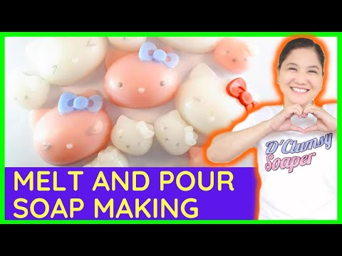 033. Hello Kitty Soapmaking DIY easy soap  making how to for beginners