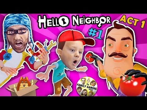 HELLO NEIGHBOR ACT 1 w/ FGTEEV HOBO JIM! NEW SECRETS in BASEMENT! FINAL FULL GAME (#1) (видео)