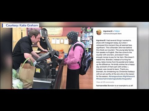 Cashier caught doing a good deed when he thought no one was watching