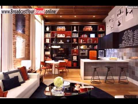 Wohnzimmer Küche Zusammen Wohnwand Junggesellenwohnung Orange Schwarz