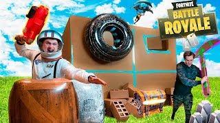 FORTNITE IN REAL LIFE BOX FORT!! •Fortnite Nerf War Challenge!