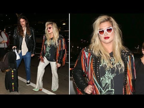 Kesha Wears Rocks Wild Rainbow Fringe Leather Jacket Headed For UK