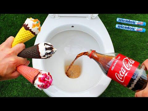 Experiment !! ICE CREAM vs TOILET Coca Cola, Fanta and Mentos