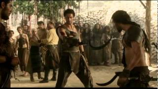 The scene of Khal Drogo's fight with Mago in season 1 episode 8 of the 'Game of Thrones' series by HBO, based on George R. R....