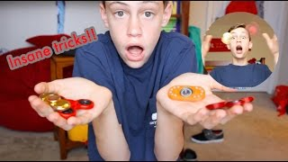 THE MOST INSANE FIDGET SPINNER TRICKS *BEST ON YOUTUBE* FIDGET SPINNER TRICKSHOTS/CHALLENGES