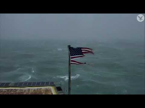 Hurricane Florence: Timelapse shows American flag being ripped to pieces by strong winds