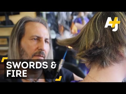 This Man Cuts Hair With Swords And Fire