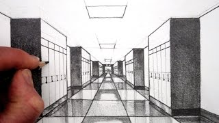 Learn how to draw using 1-point perspective for beginners. SUBSCRIBE: http://www.youtube.com/circlelineartschoolNarrated step by step art tutorial, learn how to draw using 1-Point perspective: Draw a High School Hallway in perspective, suing a 4B pencil.To visit my Circle Line Art School Shop:http://www.circlelineartschoolshop.comWatch Next: How to Draw Perspective Playlist: http://bit.ly/1QV3SsWThis 1-Point Perspective drawing is a drawing of a High School Hallway, draw an interior in linear 1-point perspective.I hope you LIKE, COMMENT & SUBSCRIBE: http://youtube.com/circlelineartschoolHow to Draw in 1-Point Perspective for Beginners: Draw a Hallway Step by Step: Circle Line Art School: Episode 230The first step is to draw a horizontal line halfway up your page, next draw a across in the middle of this line, this will be the vanishing point for this one point perspective drawing, from this vanishing point, draw two diagonal lines to the left and then two diagonal lines to the right.Thank you for watching this 1-Point Perspective art tutorial from my channel, Circle Line Art School, please subscribe to my channel for a new art tutorial each week, there are now more than 230 of my drawings to watch! http://www.youtube.com/circlelineartschoolCircle Line Art SchoolHi, my name is Tom McPherson and I founded Circle Line Art School as an online art education resource for all. My aim is to inspire people to learn to draw and be more creative.Please leave a comment to let me know what kind of drawing you would like to see next.You can follow me on:Facebook: http://facebook.com/circlelineartschoolInstagram: https://www.instagram.com/circlelineartschool/For weekly YouTube art videos: http://www.youtube.com/circlelineartschoolFor my website please visit: http://www.circlelineartschool.comThank you for your support and have a great day! Tom McPhersonCircle Line Art Schoolhttp://www.circlelineartschool.comMusic used in this one point perspective art lesson:Rubix Cube by Audionautix is licensed under a Creative Commons Attribution licence (https://creativecommons.org/licenses/by/4.0/)Artist: http://audionautix.com/How to draw in perspective for beginners: Narrated art tutorial for beginners