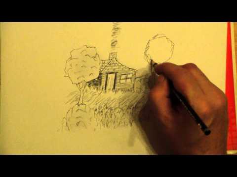 Zeichne eine einfache Landschaft mit einem Haus Draw a simple landscape with a house