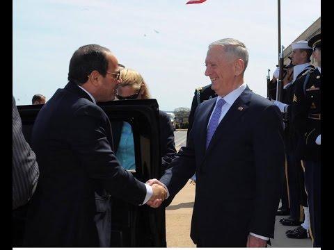 زيارة السيسي لامريكا - مراسم استقبال الرئيس عبد الفتاح السيسي بمقر وزارة ال